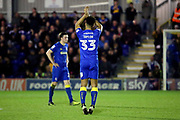 AFC Wimbledon striker Lyle Taylor (33) applauding during the EFL Sky Bet League 1 match between AFC Wimbledon and Rochdale at the Cherry Red Records Stadium, Kingston, England on 28 March 2017. Photo by Matthew Redman.