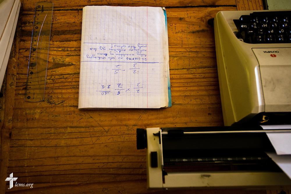 Math homework lays on a desk at the Antsirabe blind school on Thursday, Feb. 6, 2014, in Madagascar. LCMS Communications/Erik M. Lunsford