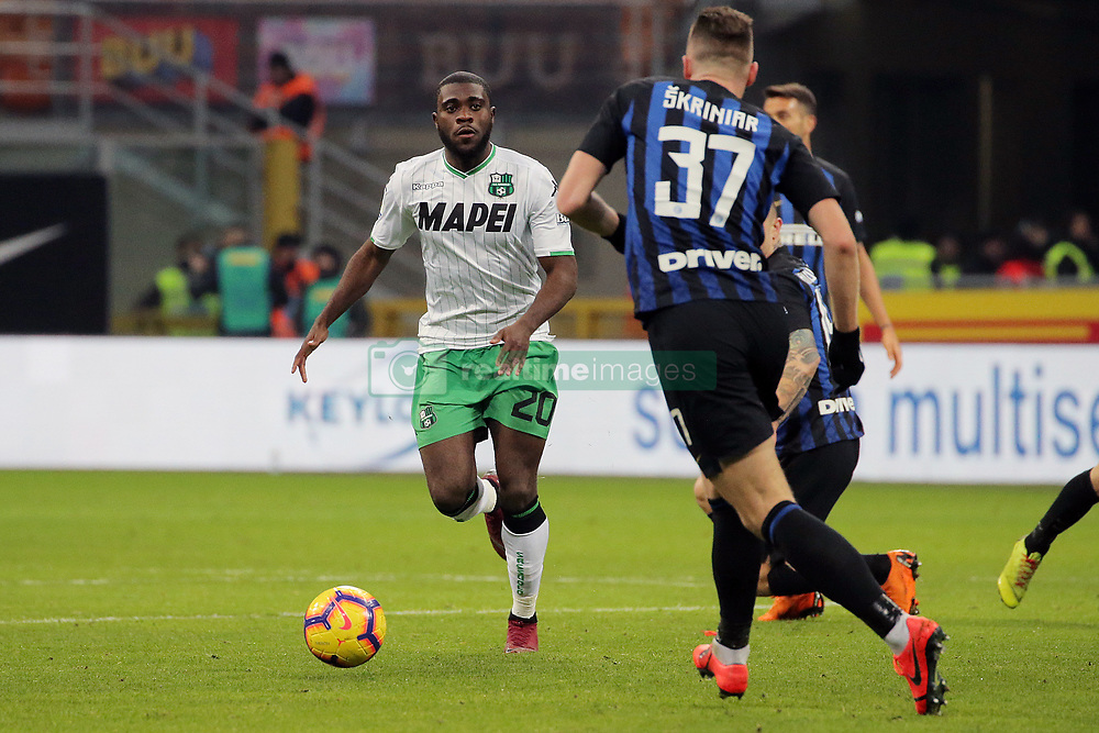 January 19, 2019 - Milan, Milan, Italy - Jeremie Boga #20 of US Sassuolo in action during the serie A match between FC Internazionale and US Sassuolo at Stadio Giuseppe Meazza on January 19, 2019 in Milan, Italy. (Credit Image: © Giuseppe Cottini/NurPhoto via ZUMA Press)