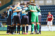 Wycombe Wanderers' players before the Sky Bet League 2 match at Adams Park, High Wycombe<br /> Picture by David Horn/Focus Images Ltd +44 7545 970036<br /> 18/04/2014
