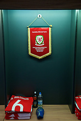 CARDIFF, WALES - Thursday, March 24, 2016: Wales' captain Ashley Williams' shirt and match pennant in the dressing room before the International Friendly match against Northern Ireland at the Cardiff City Stadium. (Pic by David Rawcliffe/Propaganda)