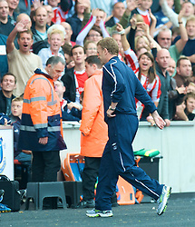STOKE, ENGLAND - Sunday, September 14, 2008: Everton's manager David Moyes is sent off during the Premiership match against Stoke City at the Britannia Stadium. (Photo by David Rawcliffe/Propaganda)