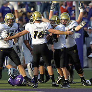 The Colorado Buffaloes celebrate after kicker Mason Crosby (16) kicked a 50-yard field goal to beat Kansas State 23-20 at KSU Stadium in Manhattan, Kansas, October 29, 2005.