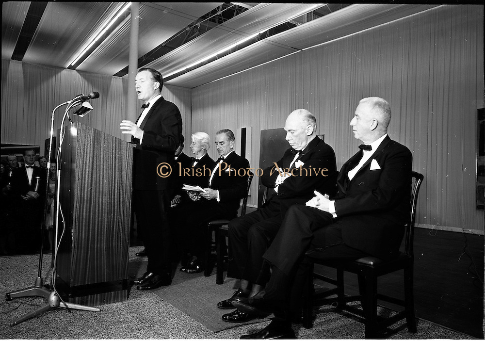 12/11/1967<br /> 11/12/1967<br /> 12 November 1967<br /> Offical opening of ROSC art exhibition at the R.D.S., Dublin.<br /> Mr Charles Haughey, T.D., Minister for Finance, declaring open the ROSC Exhibition at the R.D.S. with L-R: Dr. Willem Sandberg, Chairman of the Israel Museum, Jerusalem, one of the jurors of the exhibition; Mr Kevin O'Doherty, who presided; Mr James Johnson Sweeny, Director of the Fine Arts Museum, Houston, a juror and Mr John D.J. Moore, Vice President W.R. Grace and Co. New York, one of the sponsors of the exhibition.