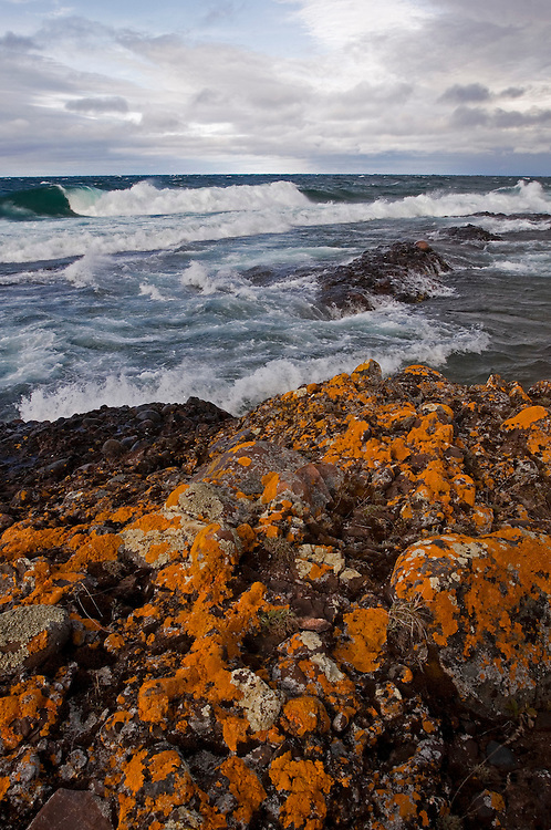 Orange lichens cling to the Keweenaw Peninsula shoreline as large Lake Superior waves crash near Copper Harbor.
