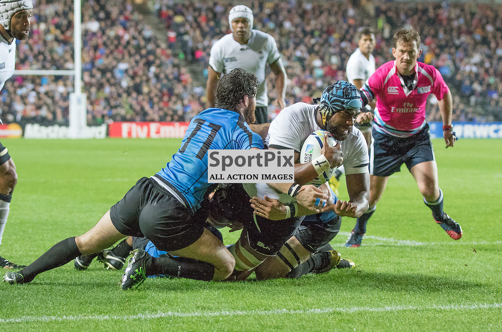 Tevita Cavubati about to score a try during the Rugby World Cup Fiji v Uruguay, Tuesday 06 October 2015, Milton Keynes Stadium, Milton Keynes, England Stadium (Photo by Mike Poole - SportPix)