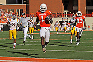 Nov 01, 2008; Stillwater, OK, USA; Oklahoma State Cowboys wide receiver Dez Bryant (1) sprints into the end zone after catching a pass for a 80-yard touchdown against the Iowa State Cyclones during the second quarter at Boone Pickens Stadium.