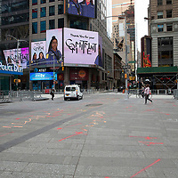 Businesses and streets in Times Square remain closed in preparation for another expected night of protests due to the killing of George Floyd by a Minnesota Police Officer on Tuesday, June 2, 2020 in Manhattan, New York.  A citywide 8 p.m. curfew was ordered by NY Mayor Bill de Blasio amid the Floyd protests. (Alex Menendez via AP)