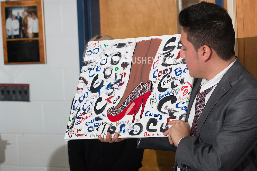 Goshen, New York - Fashion and interior design student Armando Gonzalez of Chester High School speaks during the Orange-Ulster BOCES CTE (Career and Technical Education) media day on Feb. 18. 2016.