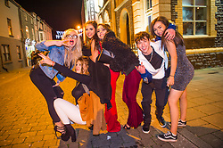 © Licensed to London News Pictures. 01/01/2019. Aberystwyth, UK. Groups of young people out and about on the streets in Aberystwyth Wales , having fun celebrating the start of the 2019 new year. Photo credit: Keith Morris/LNP