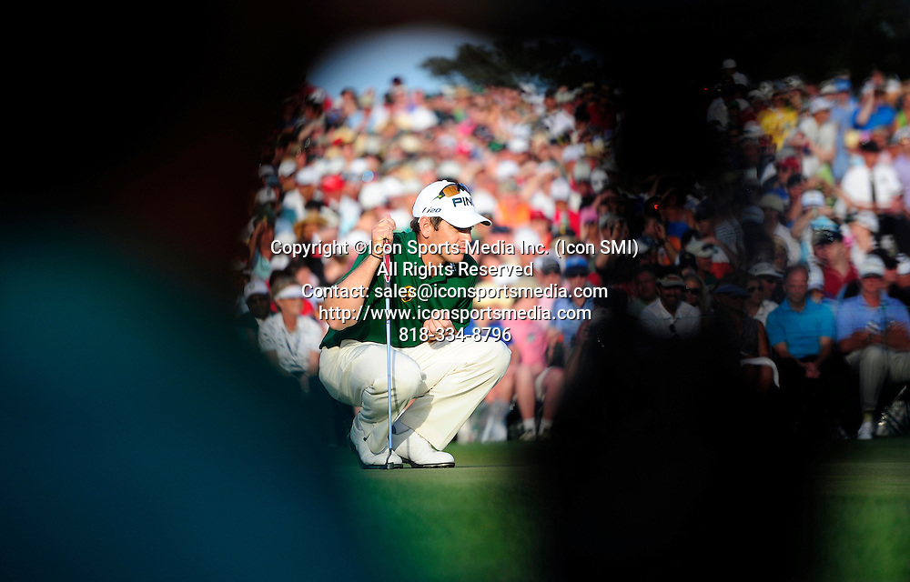 April 8, 2012 - Augusta, Georgia, U.S. - Louis Oosthuizen lines up a putt on the 18th green during Sunday's final round of the 2012 Masters Tournament at Augusta National Golf Club on April 8, 2012, in Augusta, Ga.