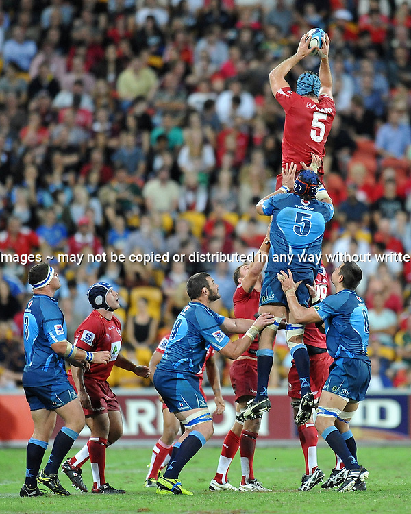 James Horwill secures the lineout ball for Queensland during action from the Super 15 Rugby Union match played between the Queensland Reds and the South African Bulls at Suncorp Stadium (Brisbane, Australia) on Saturday 16th April 2011<br /> <br /> Conditions of Use : NO AGENTS ~ This image is intended for Editorial use only (news or commentary, print or electronic) - Required Images Credit &quot;Steven Hight - Aura Images&quot;