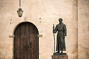 A statue of Blessed Junipero Serra stands outside San Gabriel Mission in San Gabriel, Calif. The first occupants of the mission were the Tonga, called the Gabrieleño by the early missionaries. Today, an active diverse parish celebrates nine Sunday  Masses -- five in English, three in Spanish and one in Vietnamese. © 2015 Nancy Wiechec