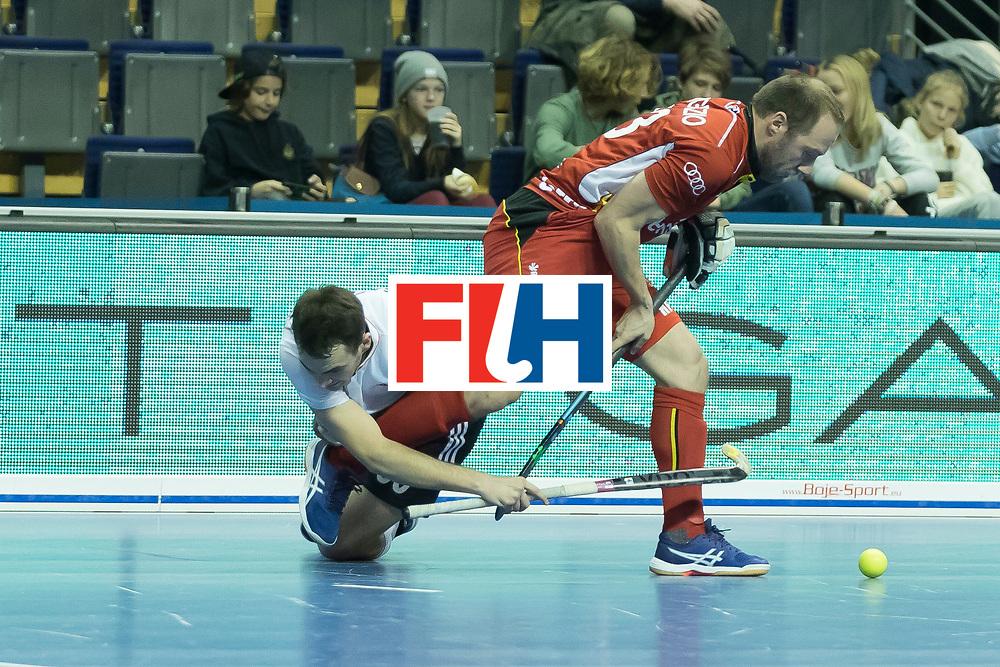 Hockey, Seizoen 2017-2018, 08-02-2018, Berlijn,  Max-Schmelling Halle, WK Zaalhockey 2018 MEN, Belgium - Russia 4-5, AGAFONTSEV Aleksandr (RUS) and PANGRAZIO Renaud (C) (BEL). Worldsportpics copyright Willem Vernes