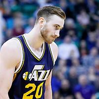 25 January 2016: Utah Jazz forward Gordon Hayward (20) rests during the Detroit Pistons 95-92 victory over the Utah Jazz, at the Vivint Smart Home Arena, Salt Lake City, Utah, USA.