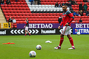 Charlton Athletic forward Josh Magennis (9) warming up prior to the EFL Sky Bet League 1 match between Charlton Athletic and Blackburn Rovers at The Valley, London, England on 28 April 2018. Picture by Toyin Oshodi.