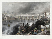 High Level Bridge over the Tyne at Newcastle, built by Robert Stephenson between 1846 and 1849. Bow-string girder, North British Railway.  Hand-coloured engraving.
