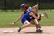 Vincentian Academy's Ashlee Darby is tagged out attempting to steal second after colliding with Sharpsville's Kristy Roberts in the first round of the PIAA state playoffs at North Allegheny High School.