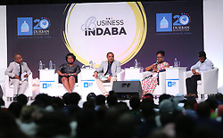 19092018Paul Nzimande, Hlengiwe Ngubane (KZN Agriculture), Wandile Makwabe (Acting Head of Agribusiness of Masisizane Fund), Nomalanga Pascal (MD of Nomalanga Estate), Vuyo Jayiya (Acting Head of Agribusiness) on a panel talking about unlocking business opportunities through supporting the SME sector with the delegates at this year's Durban Business Fair celebrates 20 years of hardwork, business excellence and success held at the Durban ICC.Picture: Motshwari Mofokeng/African News Agency (ANA)