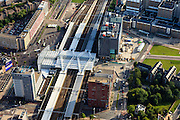 Nederland, Zuid-Holland, Leiden, 15-07-2012; station Leiden centraal..Railway station district of Leiden with University hospital..luchtfoto (toeslag), aerial photo (additional fee required).foto/photo Siebe Swart