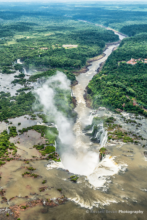 The view of the Iguazu Falls and the Lower Iguazu River taken from a helicopter.