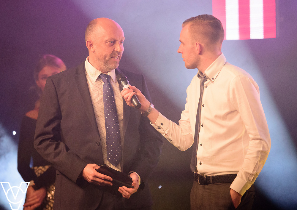 Andy Helgesen being interviewed about being Volunteer of the Year, by Rob Makepeace<br /> <br /> Lincoln City Football Club's 2016/17 End of Season Awards night - Champions Seasons Awards Dinner - held at the Lincolnshire Showground.<br /> <br /> Picture: Andrew Vaughan for Lincoln City Football Club<br /> Date: May 20, 2017 Champions Seasons Awards Dinner: