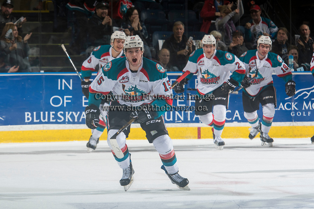 KELOWNA, CANADA - MARCH 24: Tomas Soustal #15, Carsen Twarynski #18 and James Hilsendager #2 of the Kelowna Rockets celebrate the second goal of the first period against the Kamloops Blazers on March 24, 2017 at Prospera Place in Kelowna, British Columbia, Canada.  (Photo by Marissa Baecker/Shoot the Breeze)  *** Local Caption ***