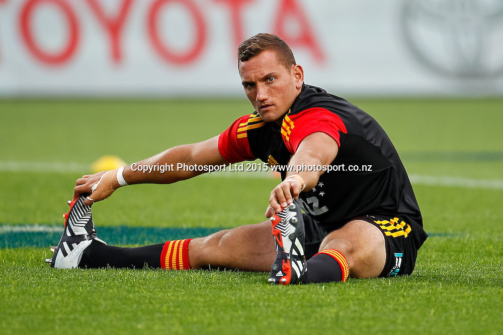Chief's Aaron Cruden warms up ahead of the Super 15 Rugby Match - Chiefs v Highlanders, 6 March 2015 at Waikato Stadium, Hamilton, New Zealand on Friday 6 March 2015.  Photo:  Bruce Lim / www.photosport.co.nz