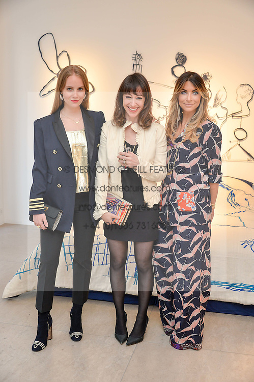 Left to right, PETRA PALUMBO, ANNIE MORRIS and JORDANA YECHIEL at a private view of Bright Young Things held at the David Gill Gallery, 2-4 King Street, London on 19th April 2016.