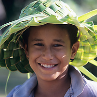 Cook Islands, K?ki '?irani, South Pacific Ocean, Aitutaki, native boy portrait