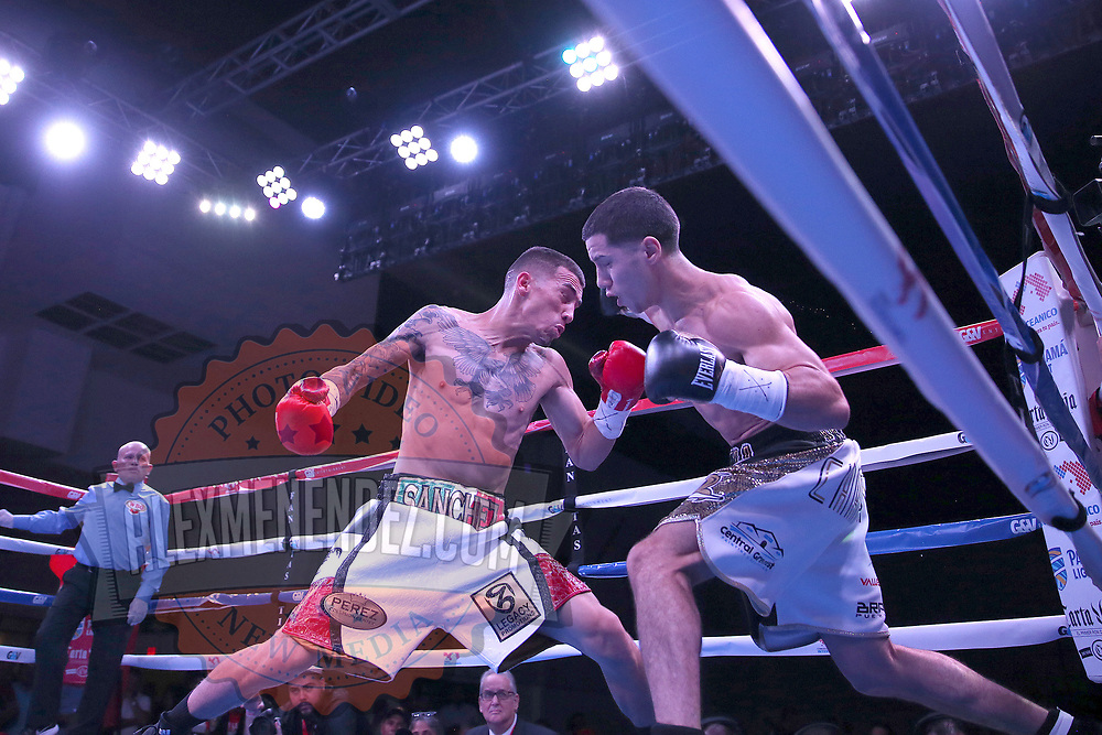 """Jean Carlos """"Chapito"""" Rivera (r) and  Jason Sanchez exchange blows during their championship boxing match for the WBO Junior World Title at the Hotel El Panama Convention Center on Wednesday, October 31, 2018 in Panama City, Panama. (Alex Menendez via AP)"""