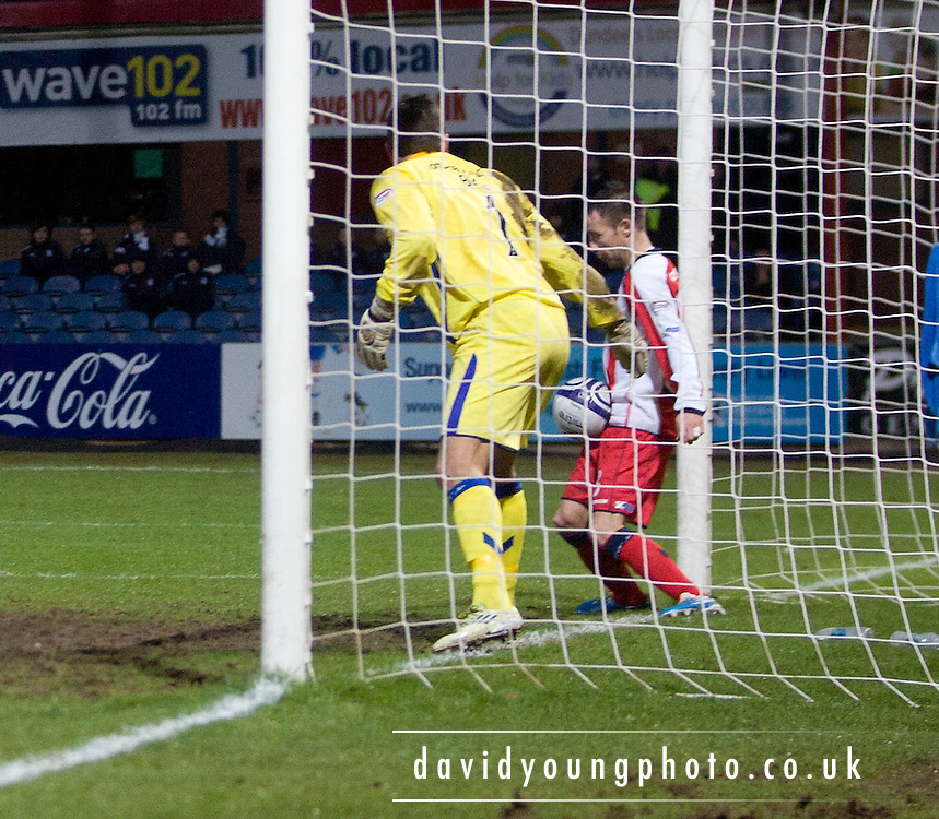 Garry Hay  clears Brian Easton's header off the goal line - Dundee v Kilmarnock in the Clydesdale Bank, Scottish Premier League at Dens Park .. - © David Young - www.davidyoungphoto.co.uk - email: davidyoungphoto@gmail.com