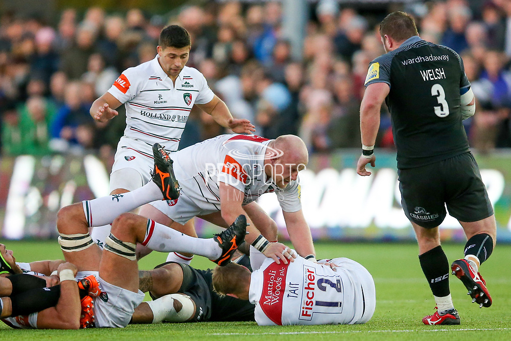 Leicester Tigers Prop Dan Cole (3) secures the ball for Leicester Tigers Scrum-half Ben Youngs (9)  during the Aviva Premiership match between Newcastle Falcons and Leicester Tigers at Kingston Park, Newcastle, United Kingdom on 29 October 2017. Photo by Simon Davies.