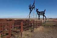 """""""Deer Crossing,"""" one of the metal sculptures on the Enchanted Highway in western North Dakota."""
