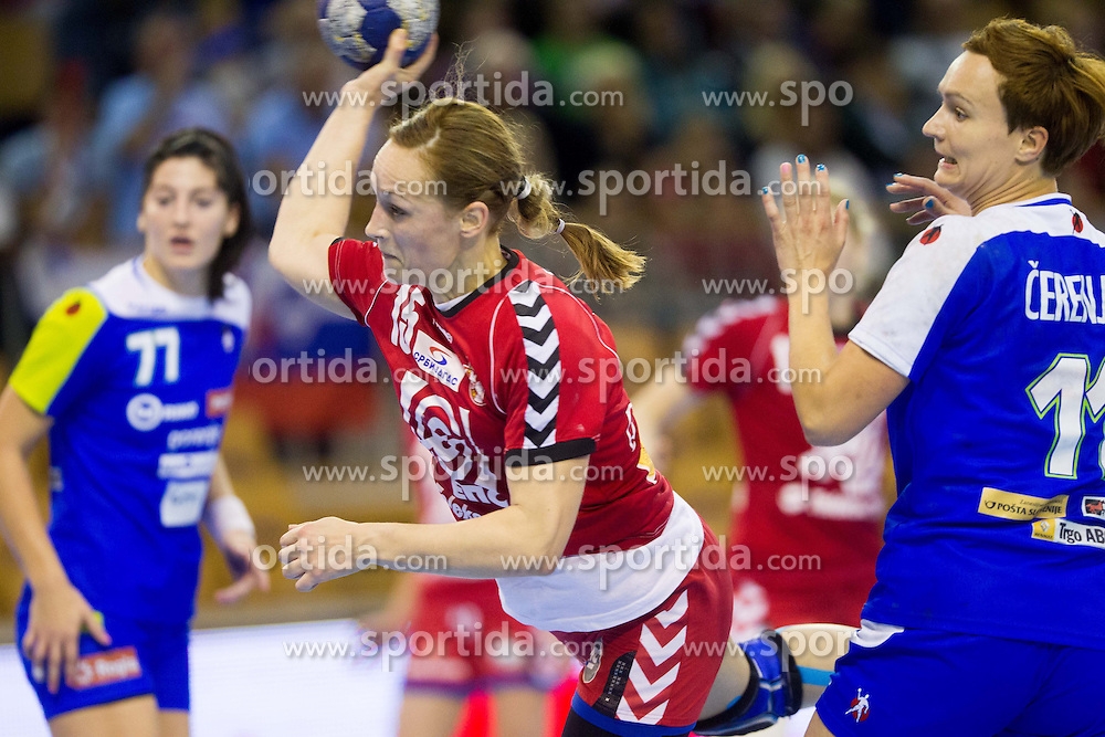 Jelena Eric of Serbia during handball match between Women National teams of Slovenia and Serbia in 2nd Round of Qualifications for 2014 EHF European Championship on October 27, 2013 in Hala Tivoli, Ljubljana, Slovenia. Slovenia defeated Serbia 31-26. (Photo by Vid Ponikvar / Sportida)
