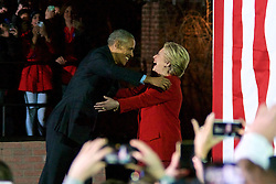 US President Barack Obama welcomes Hillary Clinton on stage at stage at the final rally of Democratic Presidential candidate Hillary Clinton, on November 7, 2016, at Independence Hall, in Philadelphia, PA., USA. The same city her campaign started in, also provides the final stage for Clinton as she is joined by her family and Michelle and Barrack Obama.