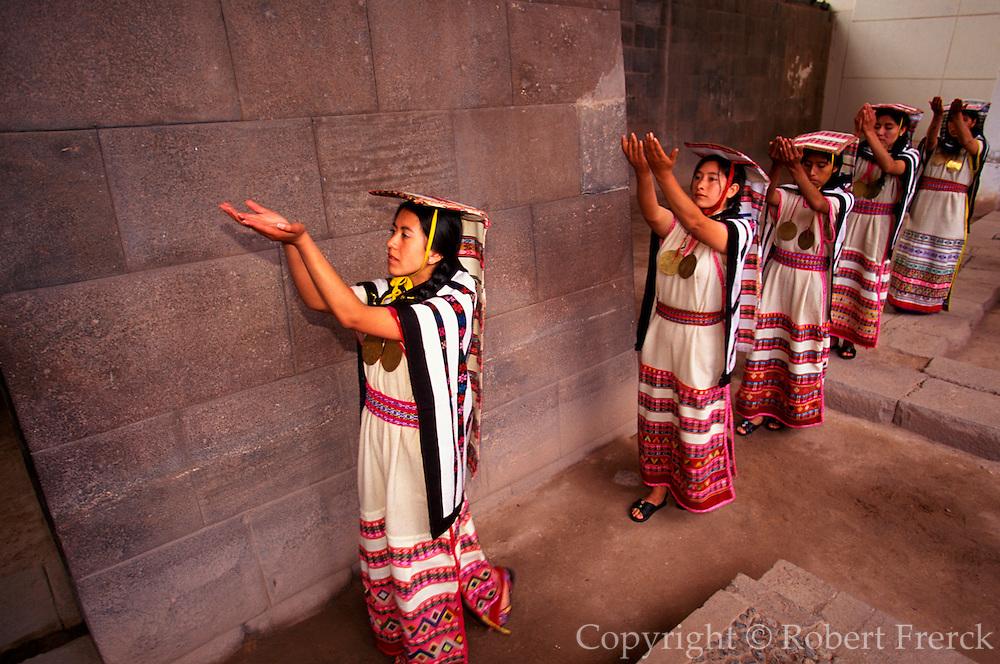 PERU, CUZCO, INCA Coricancha Sun Temple; mamaconas