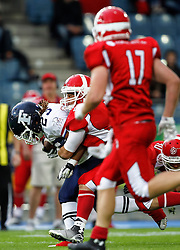 02.06.2014, UPC Arena, Graz, AUT, American Football Europameisterschaft 2014, Gruppe B, Dänemark (DEN) vs Frankreich (FRA) im Bild Nguendjo Stepehen Yepmo (FRA) und Mikkel Vangsgard (DEN) // Nguendjo Stepehen Yepmo (FRA) and Mikkel Vangsgard (DEN) during the American Football European Championship 2014 group B game between Denmark and France at the UPC Arena, Graz, Austria on 2014/06/02, EXPA Pictures © 2014, PhotoCredit: EXPA/ Erwin Scheriau