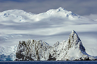 Dramatic landscape of mountain and glaciers at Point Wild on Elephant Island off the Antarctic Peninsula.  Famous for Shackletons survival story in 1916.