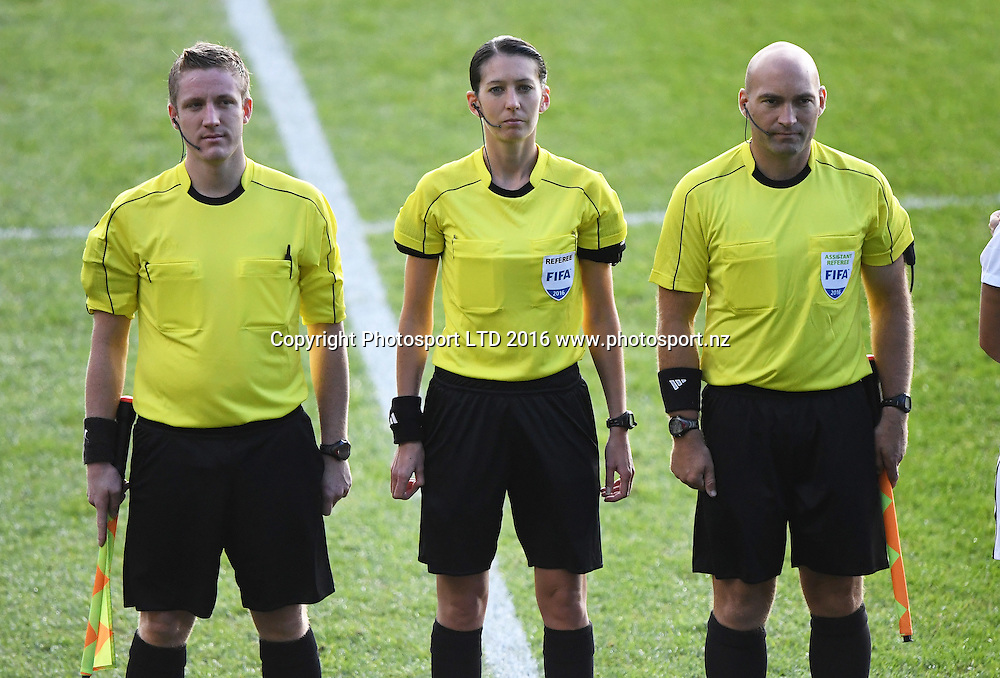 Referee Anne-Marie Keighley and Referees. International Womens Football. USA U19 v New Zealand A. QBE Stadium, Auckland, New Zealand. Tuesday 14 June 2016. © Copyright Image: Andrew Cornaga / www.photosoprt.nz