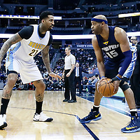 01 February 2016: Denver Nuggets forward Wilson Chandler (21) defends on Memphis Grizzlies guard Vince Carter (15) during the Memphis Grizzlies 119-99 victory over the Denver Nuggets, at the Pepsi Center, Denver, Colorado, USA.