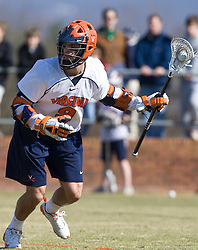 Virginia Cavaliers A Danny Glading (9) in action against Drexel.  The #2 ranked Virginia Cavaliers defeated the Drexel Dragons 13-7 at the University of Virginia's Klockner Stadium in Charlottesville, VA on February 14, 2009.