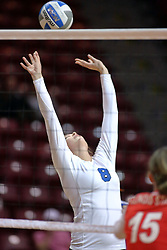 29 October 2011: Michelle Sicner leans backwards for a set During a match between the Creighton Bluejays and the Illinois State Redbirds at Redbird Arena in Normal Illinois