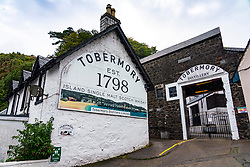 View of Tobermory Distillery at Tobermory harbour on Mull, Argyll & Bute, Scotland, UK