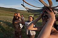 Mongolia. inside the yurt of a family of cattle breeder and horse  in   Hundlun bulag  -   /  interieur de yourte , famille d eleveurs de chevaux, a    HUNDLUN bulag  - Mongolie /