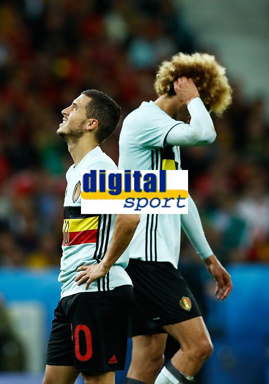 The delusion of Eden Hazard and Marouane Fellaini (Belgium). delusione<br /> Lille 01-07-2016 Stade Pierre Mauroy Football Euro2016 Wales - Belgium / Galles - Belgio <br /> Quarter-finals. Foto Matteo Ciambelli / Insidefoto