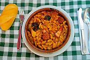 SPAIN, FOOD Fabada Asturiana, a rich traditional peasant stew with white fabada beans, sausage and bacon, originally from Asturias