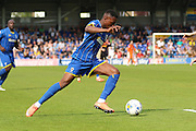 Toyosi Olunsanya striker for AFC Wimbledon (35) Sky Bet League 2 match between AFC Wimbledon and Newport County at the Cherry Red Records Stadium, Kingston, England on 7 May 2016. Photo by Stuart Butcher.
