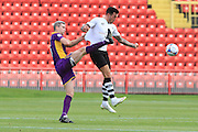 Aaron Downes and Ryan Bowman during the Vanarama National League match between Gateshead and Cheltenham Town at Gateshead International Stadium, Gateshead, United Kingdom on 10 October 2015. Photo by Antony Thompson.