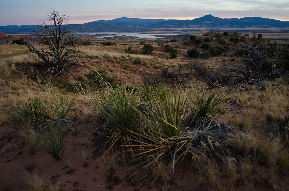 View of Pedernal at dusk. Exploring the vast landscapes of Northern New Mexico's Historic Ghost Ranch.